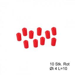 Endkappen Øi 4mm L=10mm rot PVC Kappen Schutzkappen