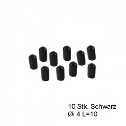 Endkappen Øi 4mm L=10mm schwarz PVC Schutzkappen