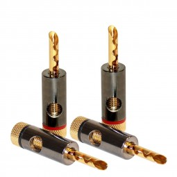 Dynavox High-End 4er Hohl Bananenstecker Set / Gold Plated BFA Banana Plug