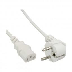 InLine® 0,5m Netzkabel, Schutzkontakt gewinkelt auf Kaltgerätestecker C13, weiß