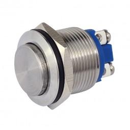 Metalltaster Einbau-Ø 19 mm Edelstahl hochflach Drucktaster Schliesser