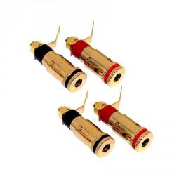 Dynavox 4er Lautsprecher Terminal Einbaubuchsen Set / Anschlussklemmen vergoldet